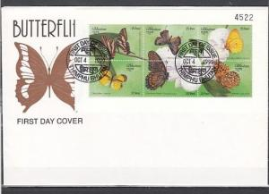 Bhutan, Scott cat. 1239. Butterflies sheet of 6 on a First day cover.
