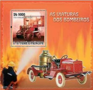 St Thomas - Fire Engines on Stamps -  Stamp Souvenir Sheet ST73D32