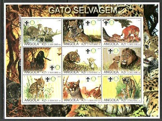 Angola, 2000 Cinderella issue. Wild Cats, Horizontal sheet. Scout Logo.