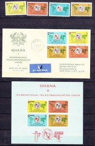 Z3922, 1965 ghana mnh set+s/s with fdc #204-7a ITU emblem fdc registered reverse