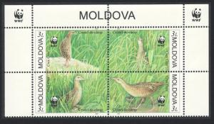 Moldova Endangered Species The Corncrake 4v Top Block of 4 WWF Logo SG#382-385