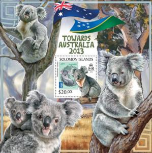 SOLOMON ISLANDS 2013 SHEET TOWARDS AUSTRALIA WILDLIFE KOALAS slm13306b