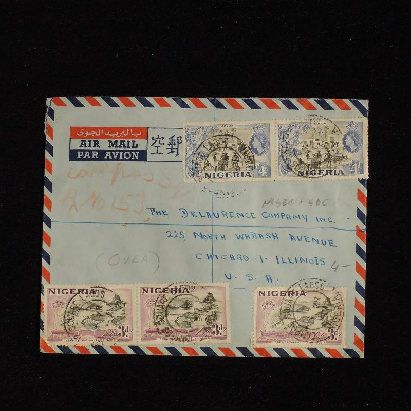 ZS-AC542 NIGERIA GBC - Airmail, 1957 From Lagos To Chicago Usa Cover