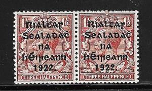 Ireland - 1922 1 1/2 Harrison Ovpt. horizontal pair VF-NH #21