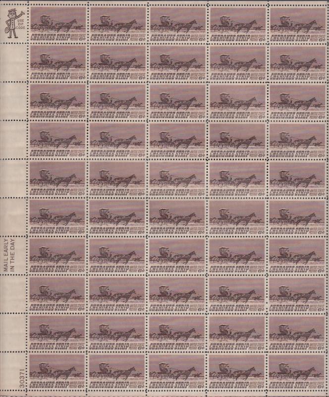 US #1360   Cherokee Strip   Full sheet of 50  MNH