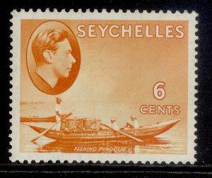 SEYCHELLES GVI SG137, 6c orange, M MINT. Cat £17. CHALKY