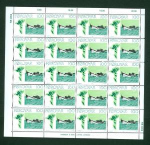 Faroe Islands. Full Sheet MNH 1977  Fishing Vessel 1.00Kr