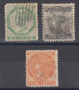 Prince Edward Island Sc 7, 9, 11 used. 1862-72 issues, 3 different, small faults