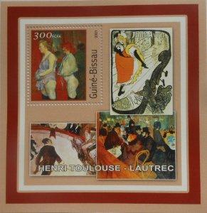 Guinea-Bissau MNH S/S Lautrec Paintings 2001