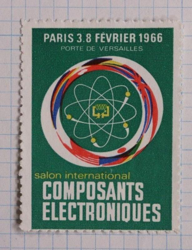 Paris France Electronics components industry expo show 1966 ad Poster Stamp DL