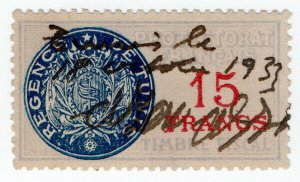 (I.B) France Colonial Revenue : Tunisia General Duty 15Fr