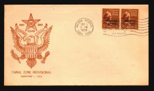 Canal Zone SC# 119 FDC / Pair / Presidential Cachet - L1578