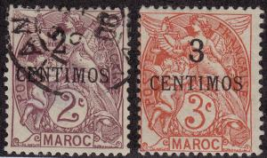 FRENCH MOROCCO M/U Scott # 12-13 - remnants (2 Stamps) -2