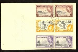 NYASALAND 1954 QE2 PERFORATION VARIETY SET of 3 In Pairs BLANTYRE Cover