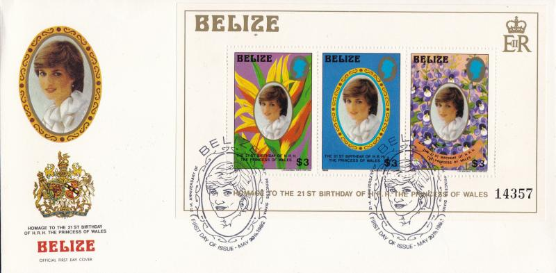 Belize 1982 Royal Wedding Princess Diana set + Souvenir Sheet First Day Cover VF