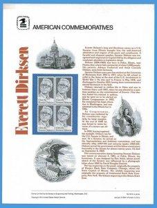 USPS COMMEMORATIVE PANEL #138 EVERETT DIRKSEN #1874