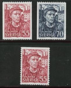 SWEDEN Scott 811-813 MH** 1969 worker stamp set
