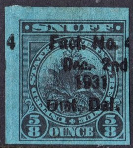 Snuff Tax Stamp: ⅝ Ounce: Dated Dec. 2nd 1931 (1917) Used