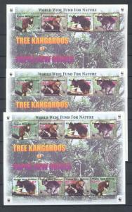 PAPUA NEW GUINEA 2003 TREE KANGAROOS WWF Wildlife MNH SHEET x3 (Pap 41)