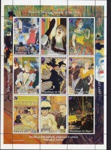Niger MNH S/S Lautrec/Degas/Bonnard Paintings 1998 9 Stamps