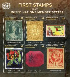 Micronesia 2015 MNH 1st Stamps UN Member 6v M/S VII British Guiana 1c Magenta