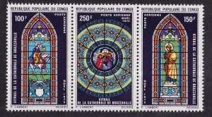 Congo, People`s Republic   #C104-C106  MNH  1970 stained glass from sheet