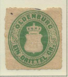 Oldenburg (German State) Stamp Scott #21, Mint, Some Gum, Top Tear - Free U.S...
