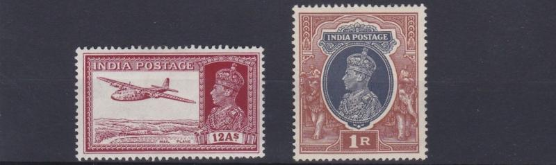 INDIA  1937 - 40     SG  258 + 259    VALUES TO 1R        MH