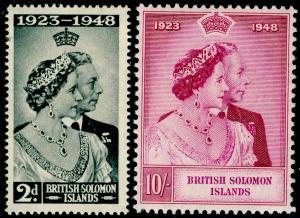 BRITISH SOLOMON ISLANDS SG75-76, COMPLETE SET, NH MINT. Cat £10. RSW.