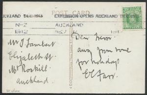 NEW ZEALAND 1912 postcard Auckland EXHIBITION OPENS machine cancel.........53178