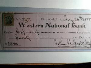 SCOTT # R35 USED INTERNAL REVENUE STAMP CHECK WESTERN NATIONAL BANK 1875