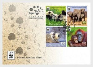 2018    HUNGARY  -  ICONIC ANIMALS - WWF -  FIRST DAY COVER