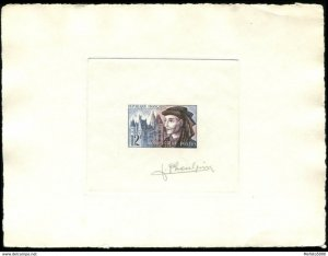 France 1034 Artist signed die proof multicolor. 1955 Jacques Coeur.