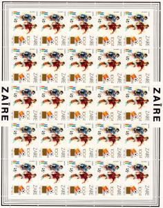 Zaire 1990 Mi.#991 World Cup Spain 82 Shlt (25) ovpt.Gold New value 100Z