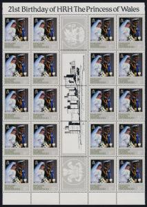 Falkland Islands Dep 1L72,73a,74-5 Gutter strips of 20 MNH Princess Diana 21st