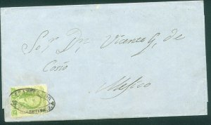 MEXICO-Queretaro 3, 2R UDATED FOLDED LETTER TO MEXICO CITY. F-VF. (203)