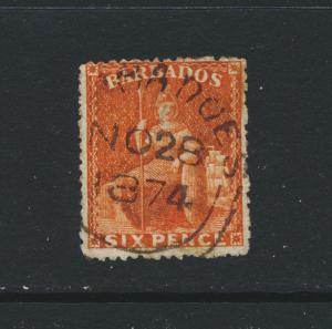 BARBADOS 1873, 6d ORANGE VERMILLION, VF USED SG#60 CAT£95 $124 (SEE BELOW)