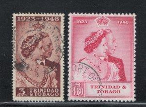 Trinidad and Tobago 1948 Silver Wedding Omnibus Scott # 64 - 65 Used
