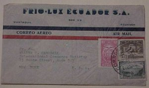 ECUADOR REVENUE STAMPS USED FOR POSTAGE 1947 GUAYAQUIL TO NEW YORK