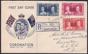 COOK IS 1937 Coronation registered commem FDC to NZ........................87728