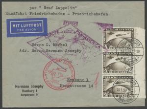 GERMANY #C39 (3x) ON 1ST ZEPPELIN FLT COVER GERMANY - SO. AMERICA 1930 HV9982
