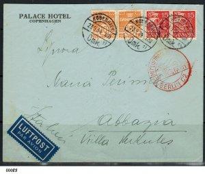 Denmark 1934 Airmail cover Copenhagen to Abbazia Italy