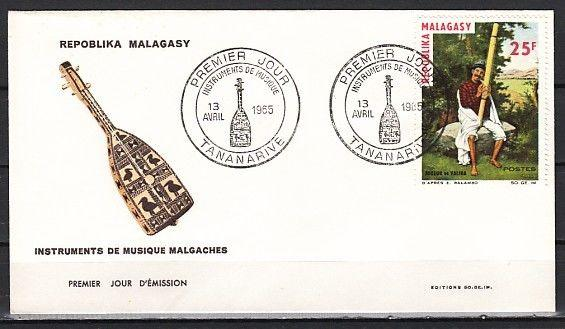 / Malagasy, Scott cat. #365. Musician with Instrument issue. First day cover.