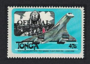 Tonga Concorde Montgolfier 47s Overprint 'OFFICIAL' High Cat value SG#O219