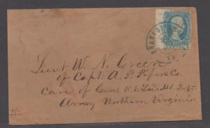 **CSA Cover SC# 9 Charlottesville, VA, 5/30/1863 Ten Cents Lt. Green Army Mail