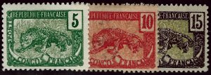French Congo SC#38, 40 Mint, #39 Used VF hr...Tough to Find!!