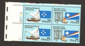 2506-7 Micronesia & Marshall Islands Plate Block Mint/nh FREE SHIPPING