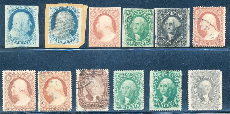 1¢-24¢ 1851-57 ISS. #26,35 UNUSED; #7,37 USED 14,17,25-26,29,32 SOME FLTS HV3927