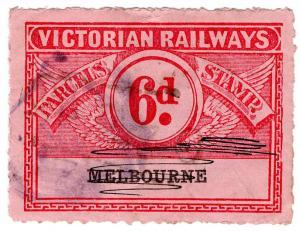 (I.B) Australia - Victoria Railways : Parcel Stamp 6d (Melbourne)