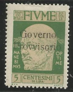 FIUME  134  MINT HINGED,  GABRIELE D'ANNUNZIO OVERPRINTED IN BLACK